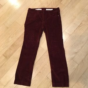 Anthropology Pilcro maroon corduroy crop flare 25